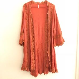 Free People Embroidered Orange Duster